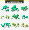 Set 3D trees in isometry and transparent shadow vector image