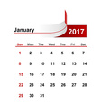 simple calendar 2017 year january month vector image