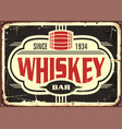 whiskey bar vintage tin sign vector image
