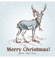 Cute Christmas hand drawn retro postcard with deer vector image vector image