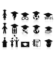 black Graduation icons set vector image