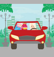 beautiful woman coming back from shopping vector image