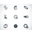 black clock icons set vector image