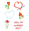 a set of different elements for romantic postcards vector image