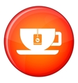 Cup of tea with tea bag icon flat style vector image