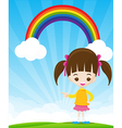 Cute little girl pointing the finger on sunburst vector image