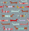 Dogs and snow holiday pattern vector image