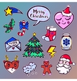 Merry Christmas set of badges patches stickers vector image