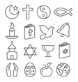 Religion Line Icons vector image vector image