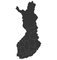map of Finland with regions vector image