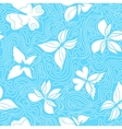 Butterflies and Waves Blue vector image