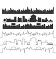 cities silhouette landscape black set vector image