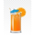 Glass beaker with orange juice ice cubes and a vector image
