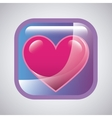 Glossy square with heart icon vector image
