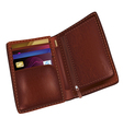Realistic brown leather wallet vector image