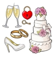 Wedding icons - cake rings glasses of champagne vector image
