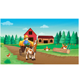 A farm with a farmer and his pets vector image