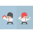 Businessman holding tray with fire and light bulb vector image
