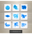 Set of Bright blue watercolor brush strokes vector image