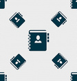 Notebook address phone book icon sign Seamless vector image