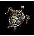 Tortoise ornate zentangle for your design vector image