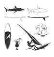 elements for surfing labels logos and vector image