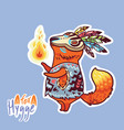baby fox shaman with feather cute decorative vector image