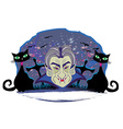 Cartoon Count Dracula grunge Halloween frame vector image
