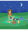 cartoon style of young happy couple having picnic vector image