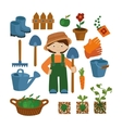 Farmer set icons vector image