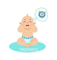 Little Baby Boy In Nappy Tired And Wants To Sleep vector image