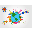 Colorful global transparent shapes and bubbles vector image