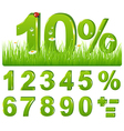 Green Discount In Grass And Set Of Figures and vector image vector image