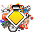 Road Signs with Car Parts vector image