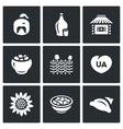 Set of Ukraine Icons Kazak Vodka Village vector image