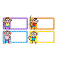 Labels with happy monkeys vector image vector image