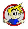 Blonde Boy on Red Circle vector image vector image
