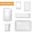 Blank white packaging realistic set for snack food vector image