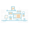Hand draw modern office interior designer vector image