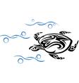 Old turtle in ocean waves vector image