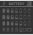 Set of battery charge level indicators Trendy vector image