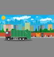 urban cityscape with garbage car vector image