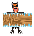 Wolf with wooden board in hand vector image