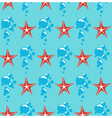 Seamless sea pattern Red starfish and blue bubbles vector image