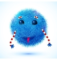 Blue fluffy funny monster vector image