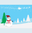 christmas greeting card snowman with santa claus vector image