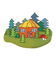 Village house and trees banner vector image