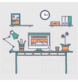 Workspace Hand drawn office interior or home vector image