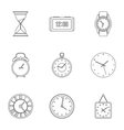 Chronometer icons set outline style vector image