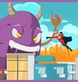 cities superhero monster battle action vector image